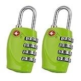TRIXES 4-stelliges TSA-Vorhängeschloss x2 Zahlenschloss für Gepäck