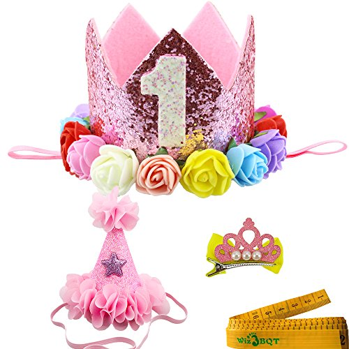 Wiz BBQT 2 Pcs Adorable Cute Crown Shaped Cat Dog Pet 1 Year Birthday Headband and Pink Star Hair Head Bands Accessories for Dogs Cats Pets (Pink)