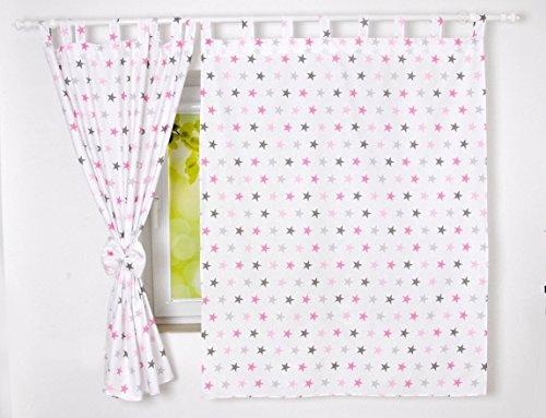 BABYLUX Kinderzimmer VORHANGE mit Schlaufen Kinder und Baby Gardinen 2x 120x160 cm (93. Sterne Rosa)