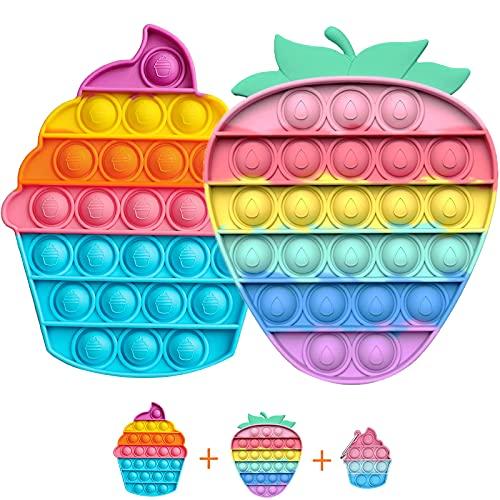 OBOVO Pop Set it Portachiavi, Pūsh Pōp Būbble Fidget Toys Pack Economici, Fidget Toy Set Anti Stress Semplice per Adulti e Bambini, Giocattoli Anti Stress per Autismo con Bisogni Speciali (3 Pezzi)