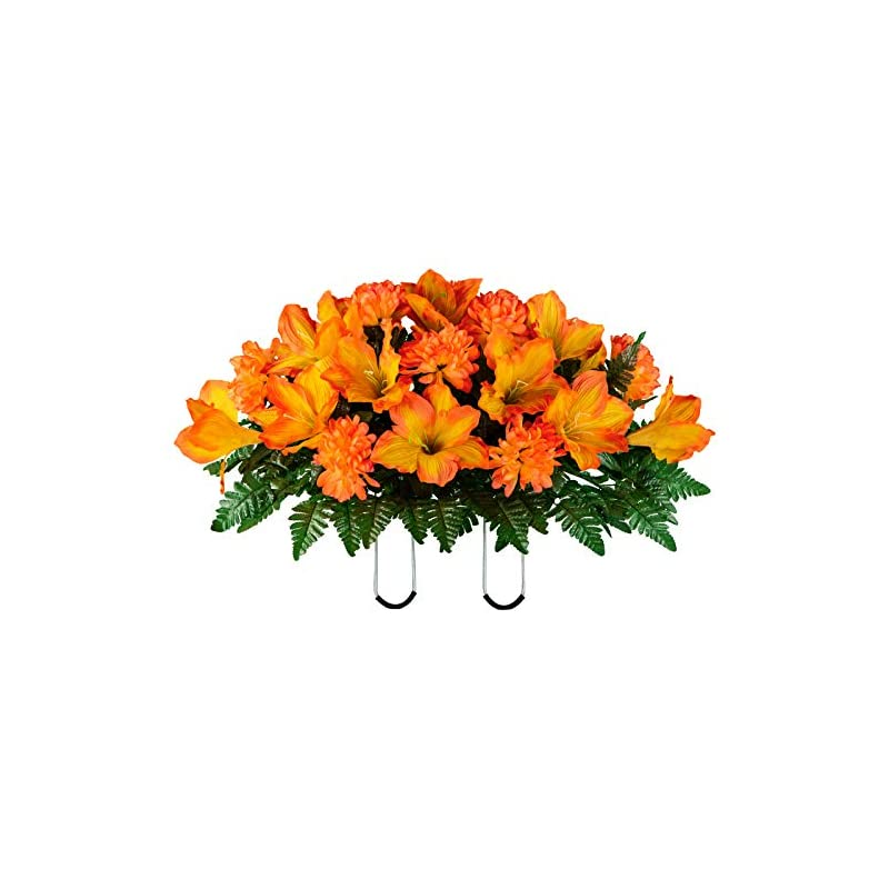 silk flower arrangements sympathy silks artificial cemetery flowers - realistic - outdoor grave decorations - non-bleed colors, and easy fit - 1 sunset orange amaryllis and mum saddle for headstone