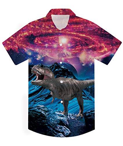AIDEAONE Jungen Kinder Kleidung Hawaii Hemd Dinosaurier Druck Hemd Kurzarm Hemden