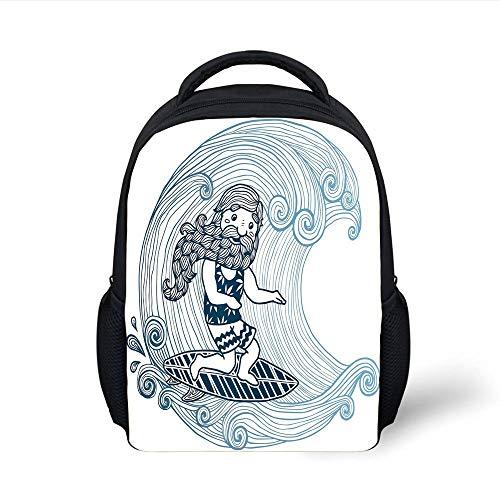 Kids School Backpack Wave,Doodle Surfer with Long Beard on Swirled Waves Surfboard Water Sports Decorative,Light Blue Dark Blue White Plain Bookbag Travel Daypack