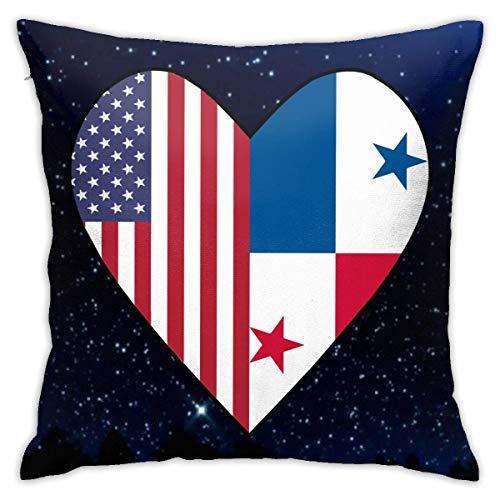 La mitad de la bandera de Panamá, la mitad de la bandera de EE. UU., Funda de almohada con forma de corazón de amor, funda de cojín cuadrada, sofá decorativo para el hogar, 18x18 pulgadas