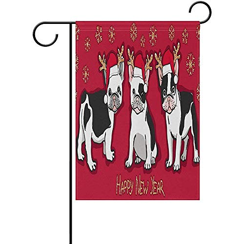 Starotor Christmas French Bulldog in Santa Hat Garden Flag Double Sided House Yard Flag Holiday Seasonal Outdoor Flag 12' x 18'