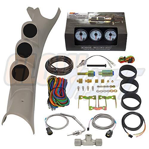 GlowShift Diesel Gauge Package for 2003-2009 Dodge Ram Cummins 1500 2500 3500 - White 7 Color 60 PSI Boost, 1500 F Pyrometer EGT & Transmission Temp Gauges - Factory Color Matched Triple Pillar Pod