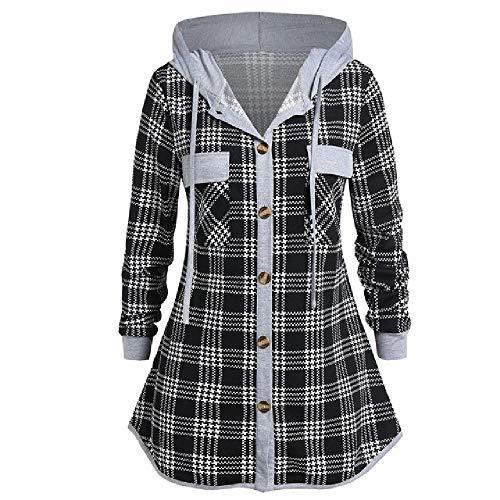 N\P Camisa de mujer a cuadros Casual Plus Tops con capucha bolsillo botón blusa a cuadros camisa de manga larga