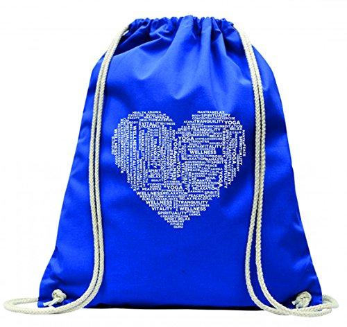 """'Turn Bolsa """"Yoga de tipografía de tipo de texto de palabras de Zen de meditación de Buda de Budismo de relajación de reposo de sosiego con cordón–100% algodón de bolsa Con Asas De Mochila de bolsa de deporte, azul"""