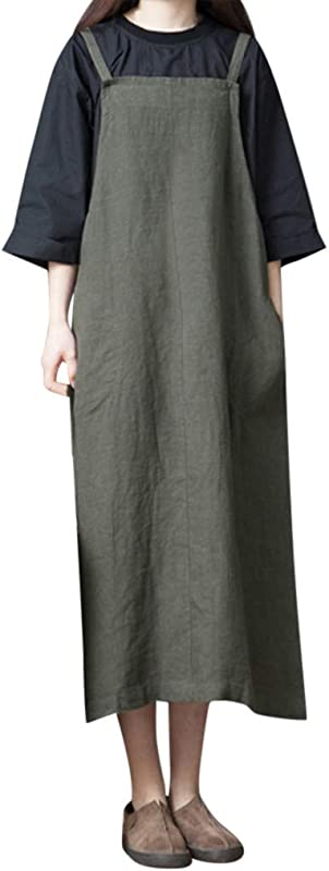 Shisay Women S Cute Long Sleeve Linen Loose Strap Dress Pocket Casual Midi Long Dress