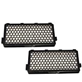 HQRP 2-Pack Active HEPA Filter compatible with Miele S6270 Onyx / Topaz / Jasper canister vacuum cleaners plus HQRP Coaster