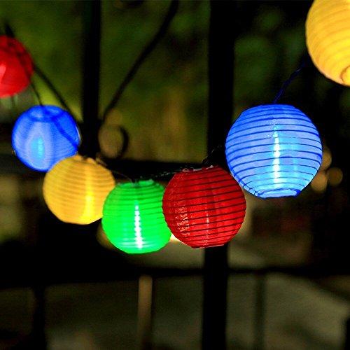 InnooTech bunte Solar Lichterkette Lampion 30er LED 6 Meter Laterne Gartenbeleuchtung Innen- und Außenbereich als Solar Lichterkette außen (30er)