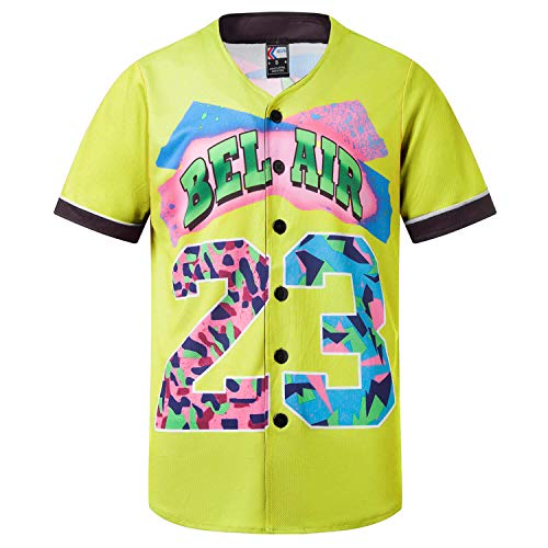 MOLPE Bel-Air 23 Printed Baseball Jersey, 90S Hip-Hop Clothing for Party (Light-Yellow, XXL)