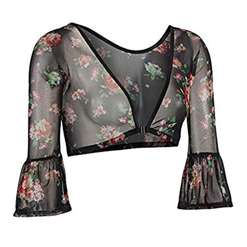TIFIY Damen Langarm Bluse beide Seiten tragen Schiere Shirt Elegante Mesh Blusen Oberteile Nahtlose Arm Shaper Top (Mehrfarbig,S)