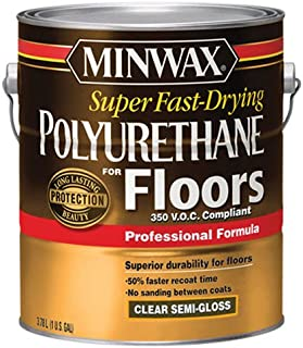 Minwax 130240000Super Poliuretano de secado rápido para suelos 350VOC, 1Gallon, semi-gloss