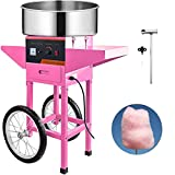 VBENLEM Commercial Cotton Candy Machine with Cart Pink 110V Stainless Steel Electric Candy Floss Maker with Cart Perfect for Various Parties
