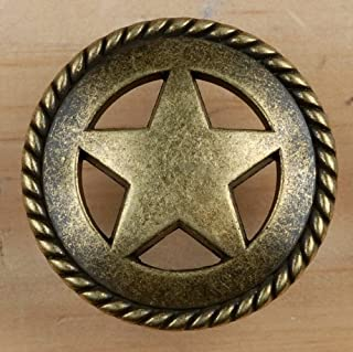Set of 6 Rustic Rope Lone Star Drawer Pulls Cabinet Knobs Western Southwest Decor Texas (Antique Brass)
