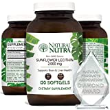 Natural Nutra Sunflower Lecithin 2000 mg, Phosphatidyl Choline, Brain Health, Reduce Clogged Ducts, Improve Liver Function, Memory Booster, Non-GMO, Gluten Free Supplement, 120 Softgels