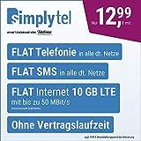 Handyvertrag simplyTEL LTE 10000 - ohne Vertragslaufzeit (FLAT Internet 10 GB LTE mit max. 50 MBit/s mit deaktivierbarer Datenautomatik, FLAT Handyie, FLAT SMS & EU-Ausland, 12,99 Euro/Monat)