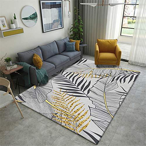 AU-SHTANG alfombras pie de Cama Alfombra Gris con diseño en Forma de Hoja, Alfombra antibacteriana, Resistente al Desgaste y de fácil Cuidado alfombras Entrada casa -Gris_Los 80x160cm