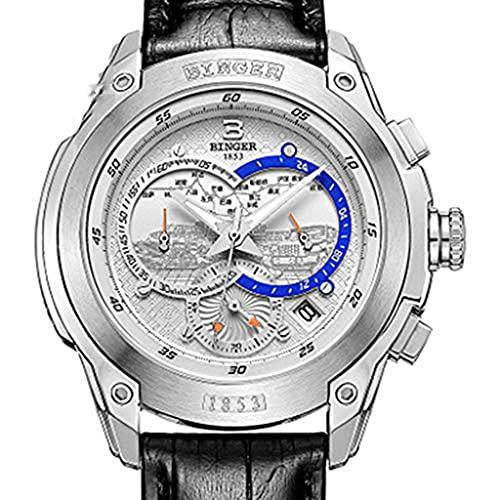 Binger Orologio Uomo Cinturino in Pelle, Multi-Funzione di Cronografo, Rilievo 3D Dial, Le Mani Luminose, High-End Semplice alla Moda A