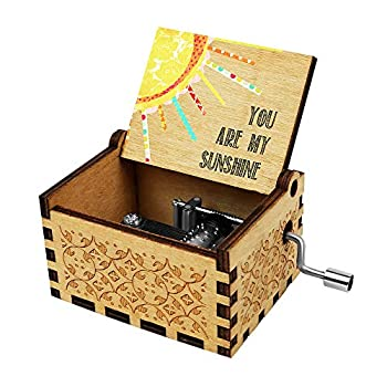 Officygnet You are My Sunshine Wood Music Box for Wife/Daughter/Son - Laser Engraved Vintage Wooden Hand Crank Music Box Gifts for Birthday/Christmas/Anniversary/Wedding/Valentine/Mother's Day