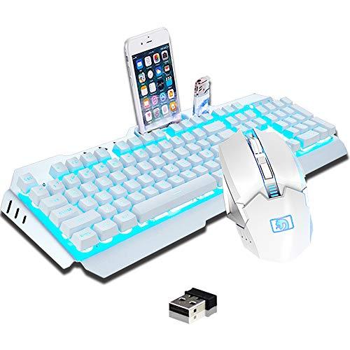 Hoopond Kabellose 2,4 G wiederaufladbare Gaming Tastatur und Maus Set, große Kapazität, schnelles Aufladen, Blaue LED Hintergrundbeleuchtung, mechanisches Gefühl und 2400 DPI 7 Farben Atemlicht Maus