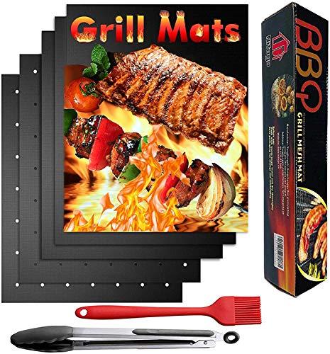 Mgee Esteras de Barbacoa 50 * 40cm, 5 Piezas Reutilizables Antiadherente BBQ Grill Mat con Cepillo y Clip de Barbacoa (5pcs)