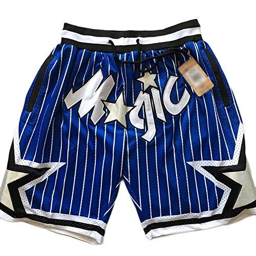 YSPORT Orlando Magic Basketball Shorts Swingman Gesticktes Netz Fans Trainingsshorts Atmungsaktiv Tragbar Schnelltrocknend (Color : Blue, Size : XXL)