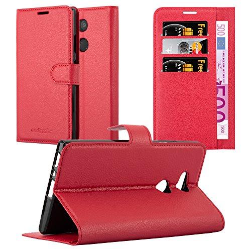 Cadorabo Hülle für Sony Xperia L2 - Hülle in Karmin ROT – Handyhülle mit Kartenfach & Standfunktion - Hülle Cover Schutzhülle Etui Tasche Book Klapp Style