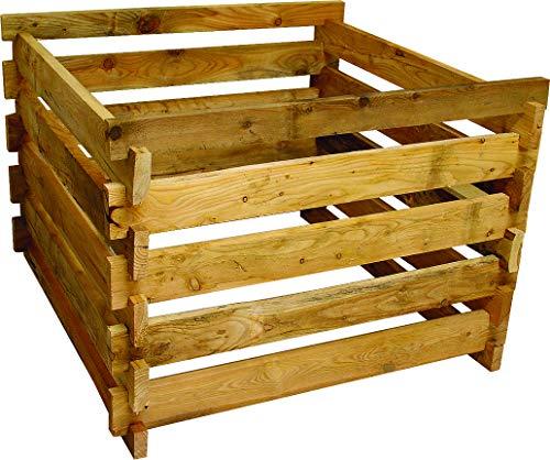 Gartenwelt Riegelsberger Holzkomposter XXL Lärche 120x120xH100 cm mit Holz-Stecksystem Komposter Komposte Steckkomposter Kompostsilo