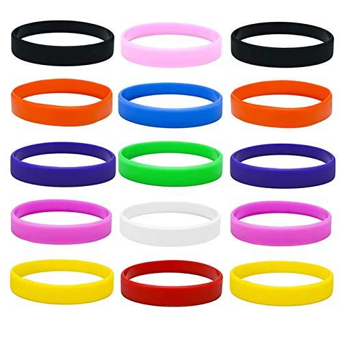 Zuzer 30 Pezzi Braccialetti in Silicone Colorati Braccialetti di Gomma Silicone Wristband Sport Rubber Bracelet per Uomo Donna Ragazzi Ragazze
