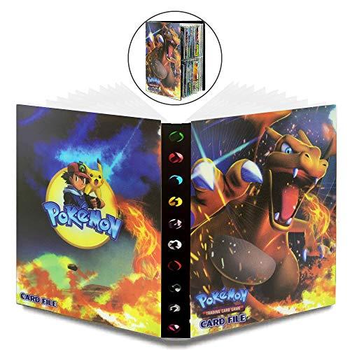 WELLXUNK Álbum de Pokemon Pokemon GX EX Álbum de Cartas Coleccionables Pokémon Titular de Tarjetas de Pokemon Pokémon,30 Páginas y Puede Contener 240 Pokemon Tarjetas(Charizard)