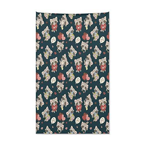 ABAKUHAUS Romantisch Wandteppich und Tagesdecke, Waschbär Ich Liebe Dich, aus Weiches Mikrofaser Stoff Kein Verblassen Klare Farben Waschbar, 140 x 230 cm, Mehrfarbig
