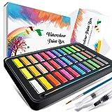 Watercolor Paint Set,Emooqi Premium Watercolour Paint Box with 36 Colors Pigment,2 Hook Line Pen,2 Water Brush Pen, Watercolor Paper Pad,for Artists, Painting,Professionals, Beginner Painters