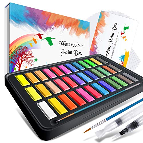 Watercolor Paint set ,Emooqi Premium Watercolour Paint Box with 36 Colors Pigment ,2 Hook Line Pen ,2 Water Brush Pen , Watercolor Paper Pad ,for Artists, Painting ,Professionals , Beginner Painters