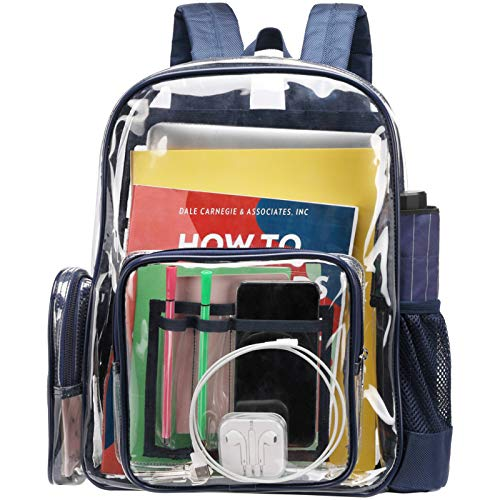 Clear Backpack, iSPECLE Durable School Backpack with Laptop Compartment Clear Backpack with Reinforced Padded Straps Transparent Bag for School, Work, Security, Black