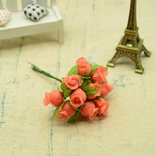 12st zijde rozen boeket diy kerst slingers vazen voor thuis bruiloft decoratie accessoires goedkope kunstmatige plastic bloemen, oranje rood
