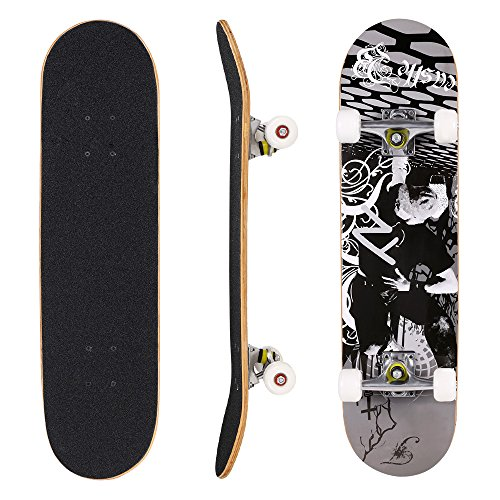 Hikole Skateboard - 31' x 8' Complete PRO Skateboard - Double Kick 7 Layer Canadian Maple Wood Adult Tricks Skate Board for Beginner, Birthday Gift for Kids Boys Girls 5 Up Years Old