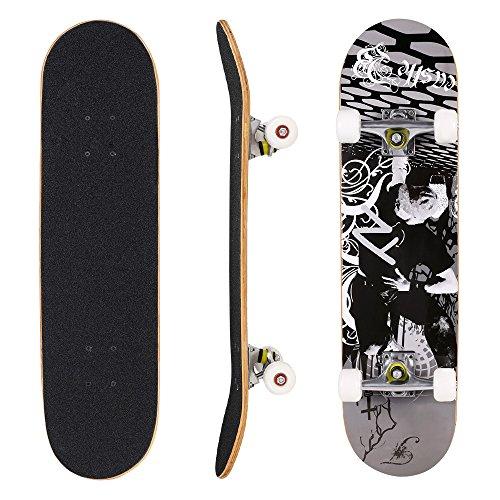 WeSkate Skateboard Komplett Board 79x20cm Holzboard ABEC-7 Kugellager 31 Zoll 7-lagigem Ahornholz, 88A Rollen für Anfänger Kinder Jugendliche und Erwachsene