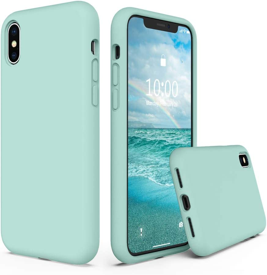 SURPHY Silicone Case Compatible with iPhone Xs Case iPhone X Case 5.8 inches, Liquid Silicone Phone Case (with Microfiber Lining) for iPhone Xs 2018 / iPhone X 2017 (Mint Green)