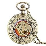 Aries Tauro Géminis Cáncer Leo Virgo Libra Escorpio Sagitario Capricornio Acuario Piscis Collar Colgante Cuarzo Relojes de Bolsillo Tauro