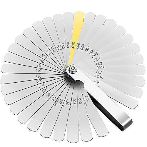32 Klingen Dickenmesser Edelstahl Klingen Fühlerlehre Metric/Imperial Gap Messgerät für Messung Gap Breite/Dicke/metrisch Größen - 0.038-0.88mm