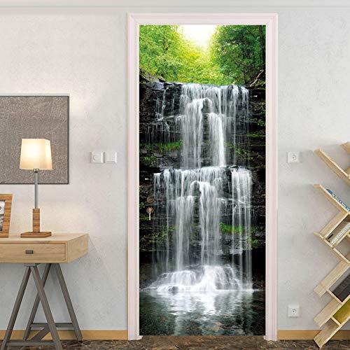 Deursticker Waterval Natuur Landschap 3D Fotobehang Waterdicht Deurbehang Zelfklevende Muurstickers Huisdecoratie