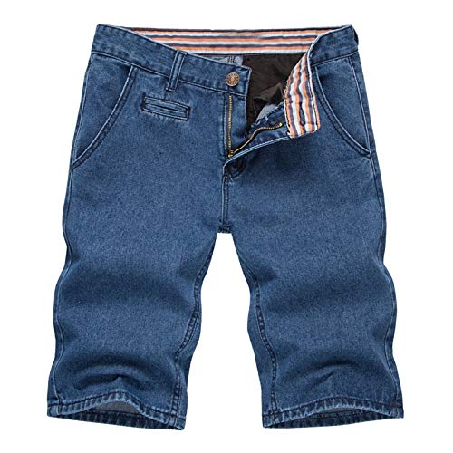 Shorts Jeans for Men, F_Gotal Men's Casual Solid Drawstring Elastic Waist Big&Tall Relaxed Fit Pleated Jeans Shorts