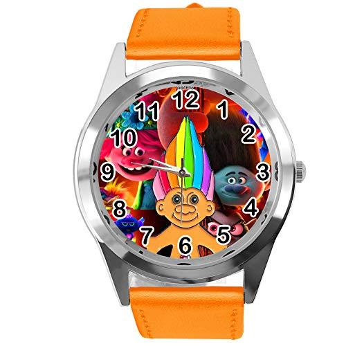 Reloj redondo de cuero naranja para fans enanos