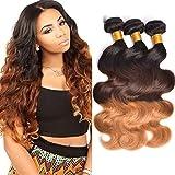 Human Hair Bundles Echthaar Tressen Ombre 3 Tone 300g Ombre Dunkelbraun Weave Farbe Schwarz-DarkelBraun-Blond Brazilian Hair Lang Women Hair 16 18 20 zoll