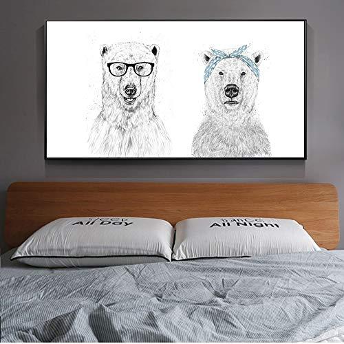 Rahmenlose MalereiNordisches einfaches Löwentier-Wandplakat und drucken Schwarzweiss-Skizze Wandkunst Leinwand40X80cm