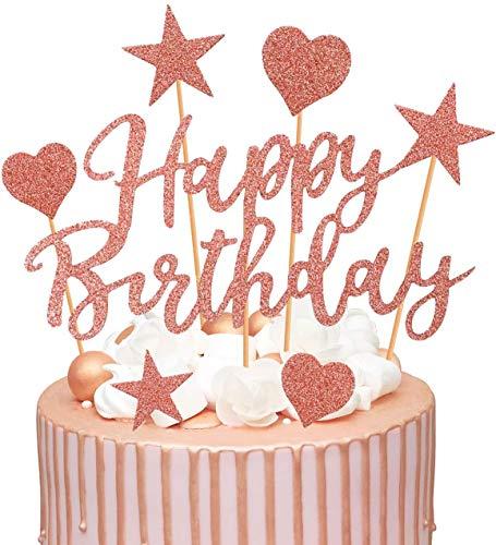 Nv Wang Decorazione della Torta,Torta Topper, Decorazione per Torte Oro Rosa Confezione da 2 Decorazioni per Torte di Compleanno Buon Compleanno Ghirlanda Cuori Stelle Cake Topper Accessori per Torte