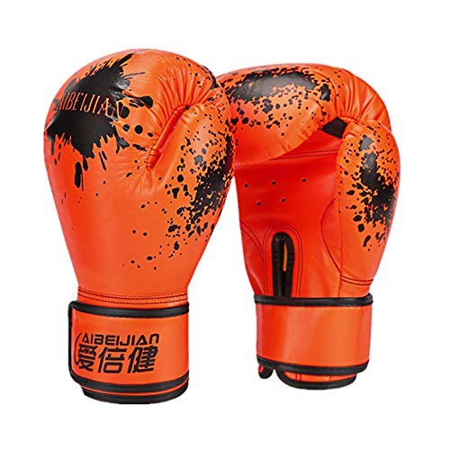 YWRD Box Handschuh Boxhandschuhe Kickboxhandschuhe Thai Boxhandschuhe Boxhandschuhe für Erwachsene PU Leder Boxhandschuhe Boxsackhandschuhe orange,Adult