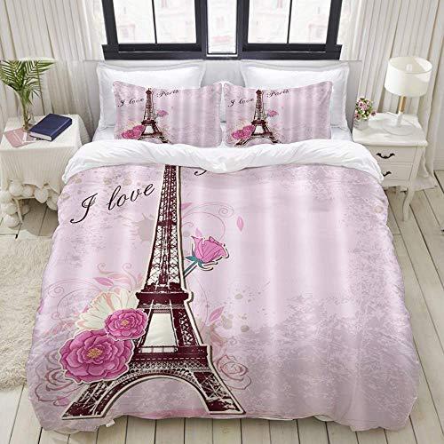 SmallNizi Funda nórdica, Rosa París Francia Torre Eiffel y Flores Amor romántico, Juego de Cama Ultra cómodo, Ligero y Lujoso, Juegos de Microfibra